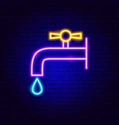 faucet neon sign vector image
