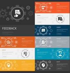 Feedback infographic 10 line icons banners survey vector