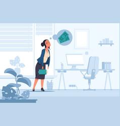 financial problem cartoon unhappy woman thinking vector image