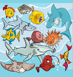 Fish cartoon animal characters group vector