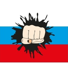 Fist overpunching flag to russia vector