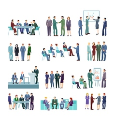 Flat Meeting Conference Groups Set vector