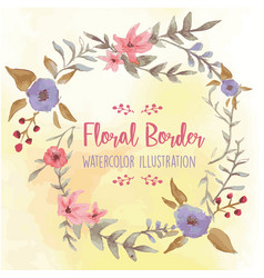 Floral border watercolor vector