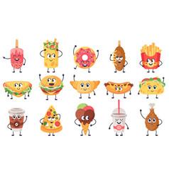funny food mascots cute doodle junk food mascot vector image