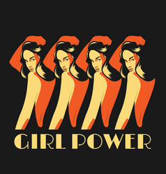 Girl power hand drawn girls vector