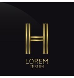 Golden H Letter vector image