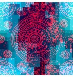 Grunge ornament on geometric background vector