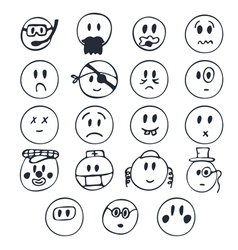 Hand drawn funny faces with different emotions vector