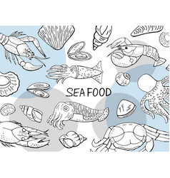 hand drawn seafood collection on white background vector image
