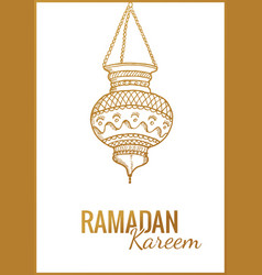 hand drawn sketch of ramadan kareem flashlight vector image