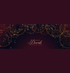 happy diwali banner with bursting firework vector image