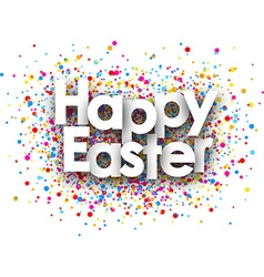 Happy easter paper card vector