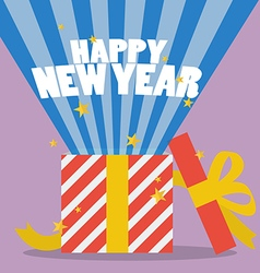 Happy new year with a gift box vector