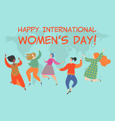 happy young women different nationalities vector image