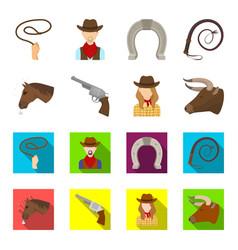 head of a horse a bull head a revolver a cowboy vector image