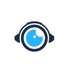 Headphone eye logo icon design vector