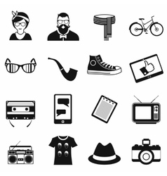 Hipster style black icons set vector image