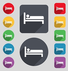 Hotel icon sign A set of 12 colored buttons and a vector image