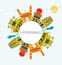 Hyderabad city skyline with color buildings vector