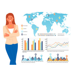 Infographics and world map info on board woman vector