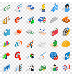 Inspire idea icons set isometric style vector
