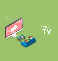 isometric flat concept smart tv home vector image