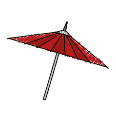 Japanese umbrella isolated icon vector