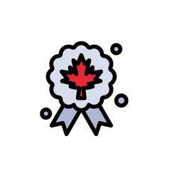 leaf award badge quality flat color icon icon vector image