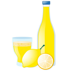 Lemon juice in glass and bottle vector