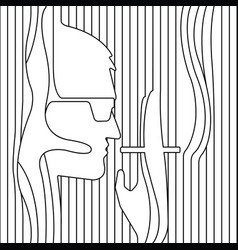 line drawing men smoking vector image