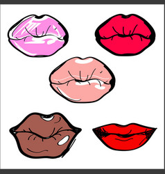 lips of different shapes and vector image