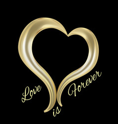 Love gold heart icon vector