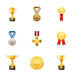 Medals and awards icons set cartoon style vector