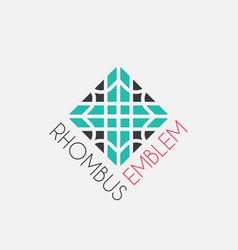 Mosaic rhombus emblem vector
