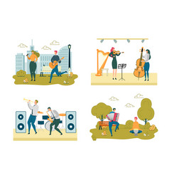 Musicians street and stage performance scene set vector