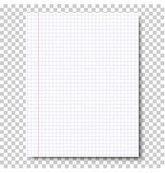 Notebook checkered sheet of paper vector