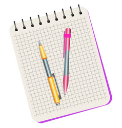 notebook yellow pen and pink pen vector image