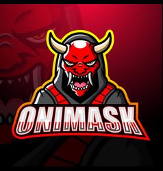 Oni mask mascot esport logo design vector