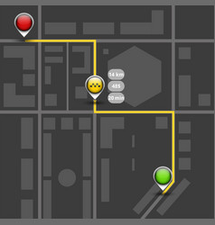Order taxi using service dark map mockup route vector