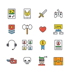 Outline Gamer Icons vector image