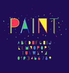 paint font and alphabet numbers and letters vector image