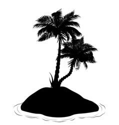 Palm Tree on Island Silhouette2 vector