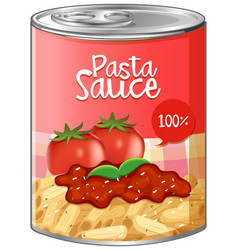 Pasta sauce in aluminum can vector
