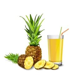 Pineapple juice glass vector image vector image