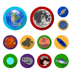 planets of the solar system flat icons in set vector image