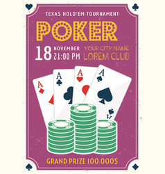 poker tournament invitation colored poster vector image