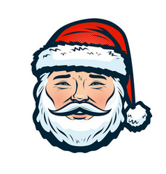 portrait of happy santa claus christmas or new vector image