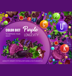 Purple color food diet health longevity vector