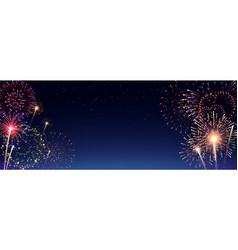 Pyrotechnics and fireworks realistic banner vector