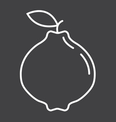 Quince line icon fruit and diet vector